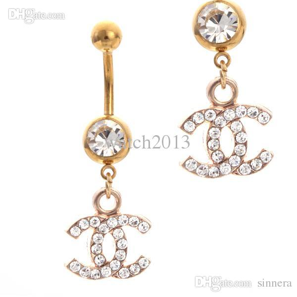 Gros-2016 New arrivel Sex Marque d'or Belly Bars 10pcs Trendy Dangle Anneaux Bel