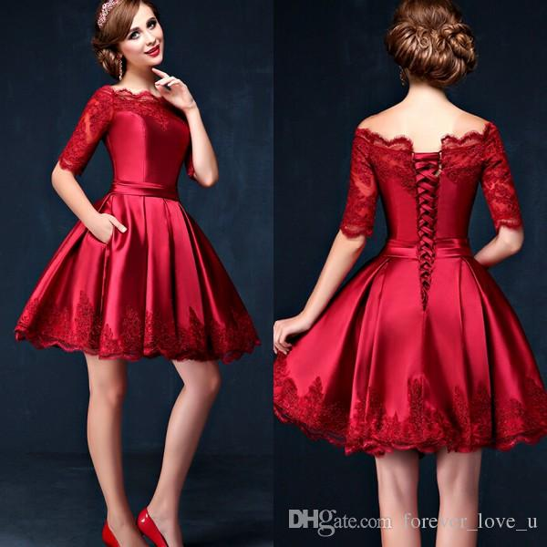 2016 Dark Red Short Prom Dresses A Line Sheer Bateau ...