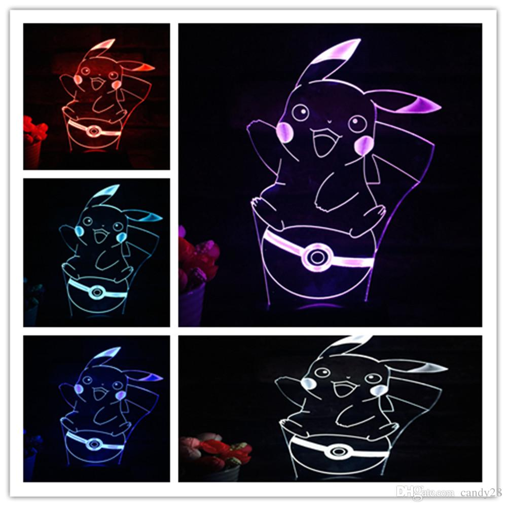 2016 Poke go Pikachu 3D LED Night Light 7 couleurs Changer table ampoule de bure
