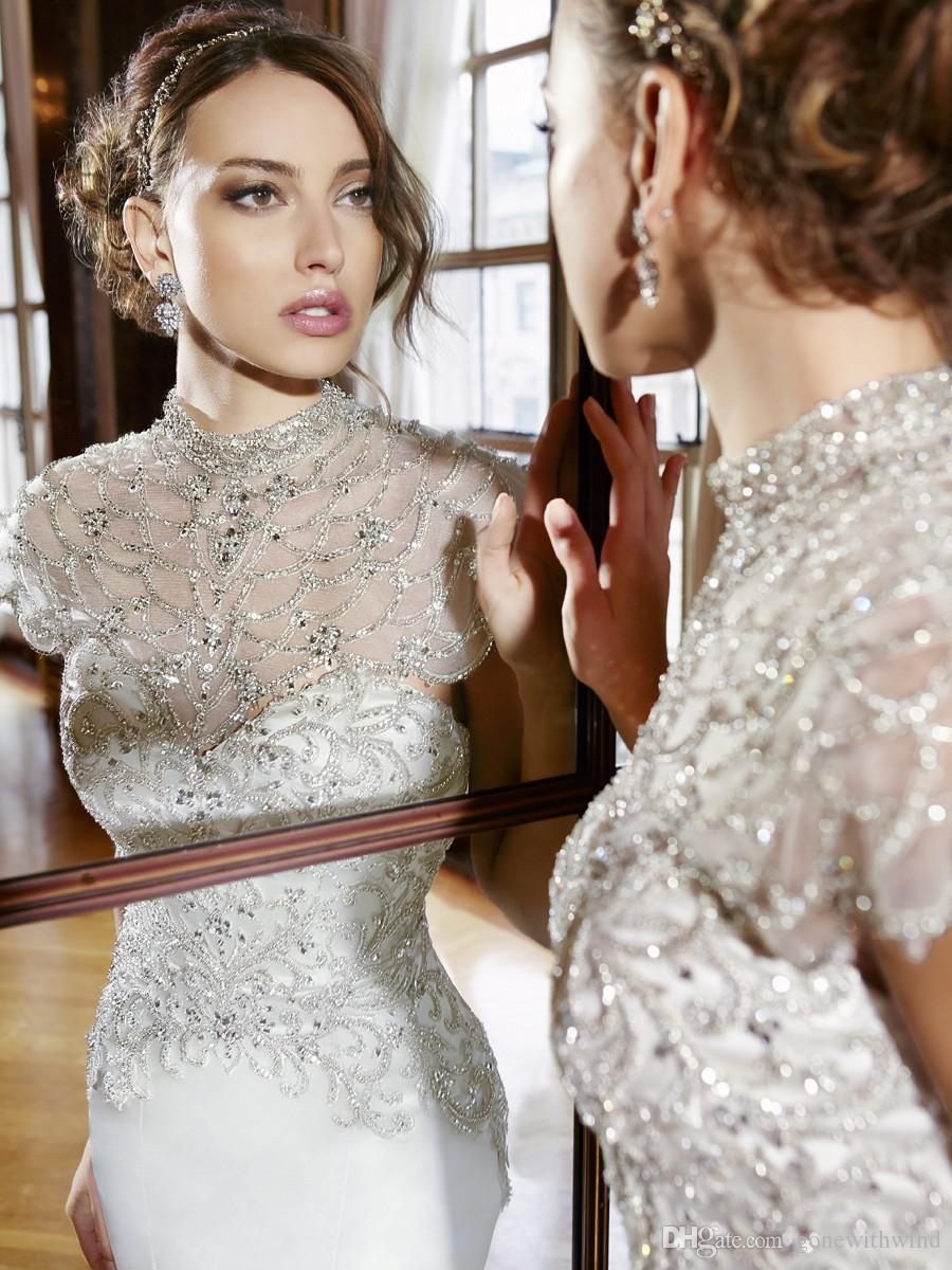 Elegant sleek satain beaded wedding dresses 2016 wedding for Silver beaded wedding dress