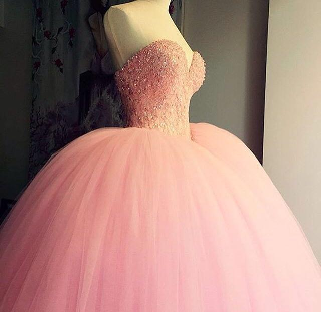Pink Ball Gown Prom Dresses For Teens Sweetheart Long Tulle ...