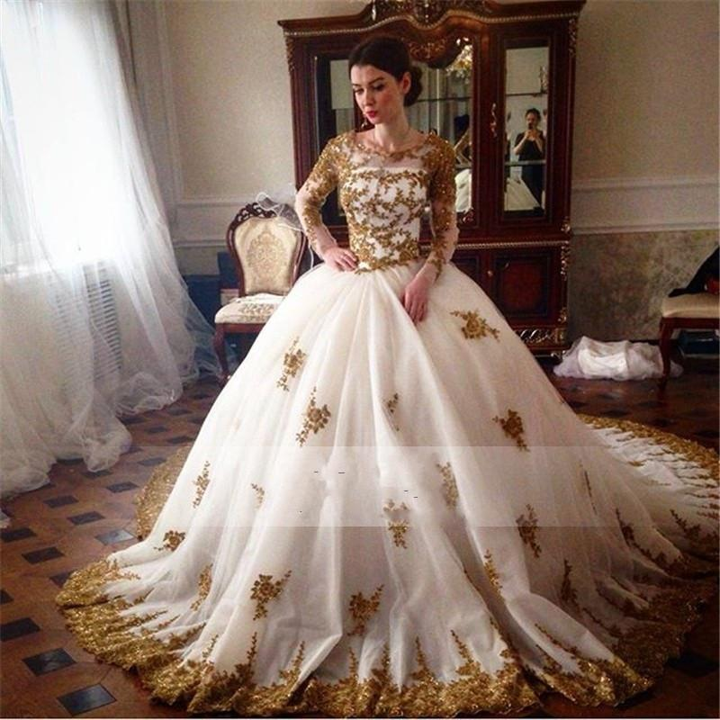 Gorgeous gold lace appliques arabic wedding dresses 2016 for Wedding dress arabic style
