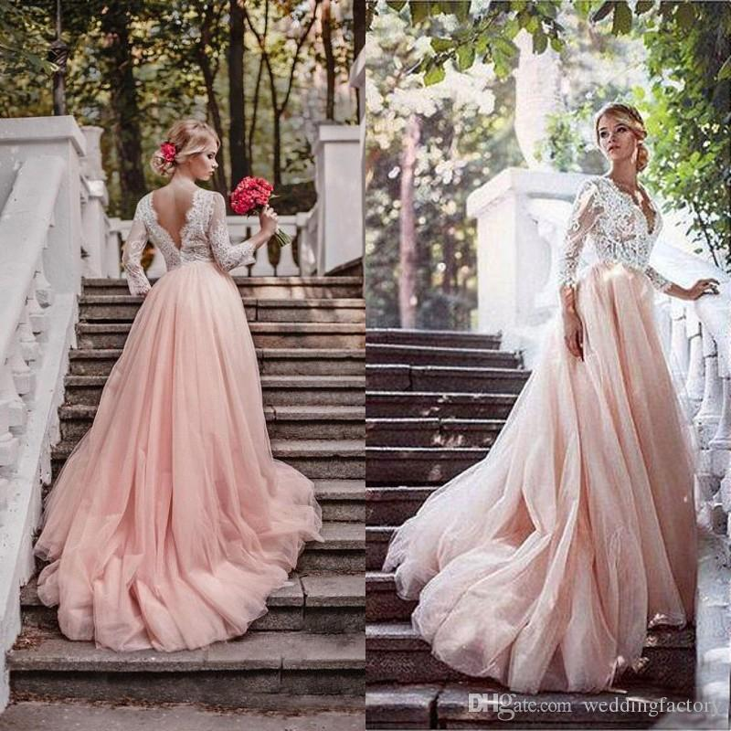 2017 newest blush pink country wedding dresses with sleeves deep v 2017 newest blush pink country wedding dresses with sleeves deep v neck illusion top lace appliques colored tulle skirt bridal gowns custom country wedding junglespirit Gallery