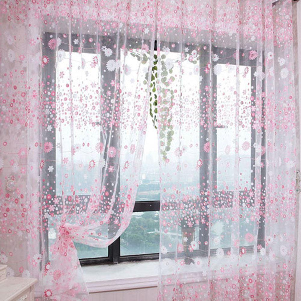 Lovely Flower Pattern Voile Net Curtains for Door Window Room Decoration Window Screening Pastoral Curtain for Living Room Decor