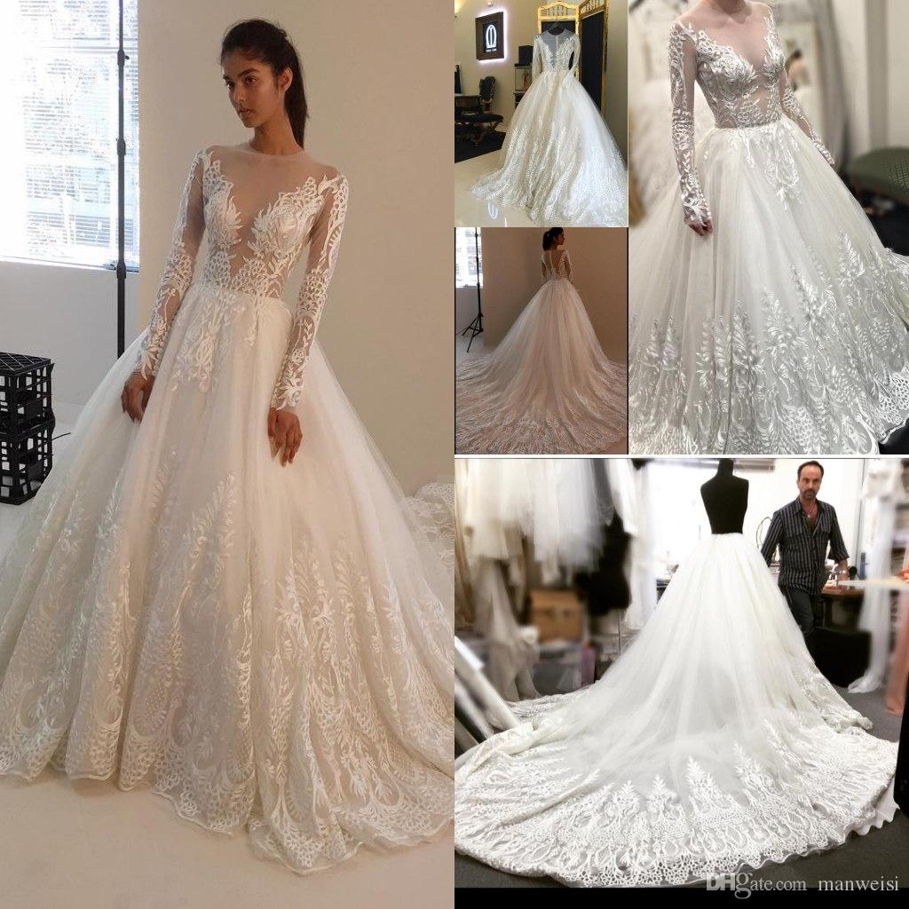 Vintage Plus Size Wedding Dresses With Long Sleeve Lace