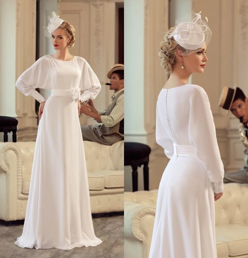 chiffon wedding dresses elegant long sleeves bridal gown mother dress