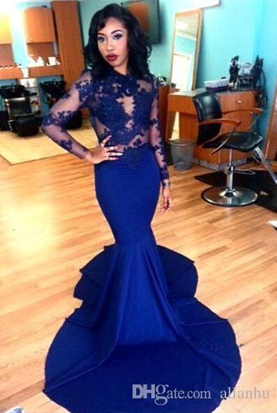 2016 Royal Blue Prom Dresses Mermaid See Through Long Sleeve Lace Appliques Formal Vestido De Festa Longo Evening Gowns Dubai Party Dresses