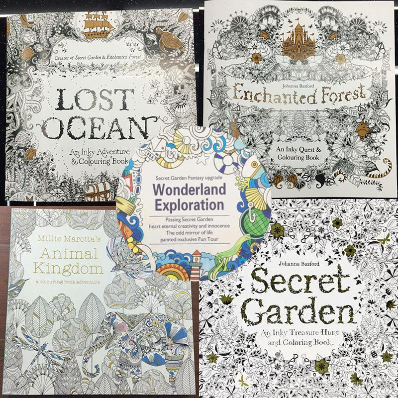 96 Pages Coloring Books 25x25cm Animal Kingdom Enchanted Forest Lost Ocean Secret Garden Inky Book For Kids Adult Graffiti Painting
