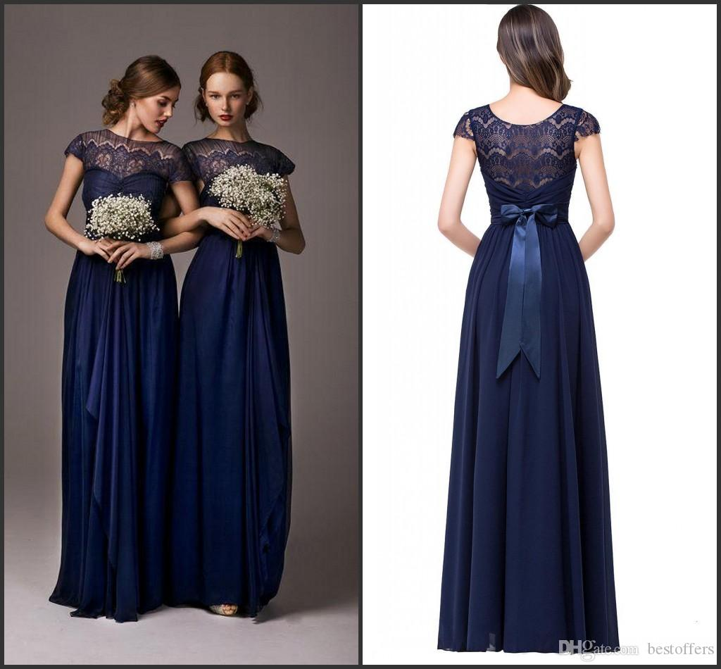 Dark navy cheap bridesmaid dresses a line 2016 hot lace for Maid of honor wedding dresses