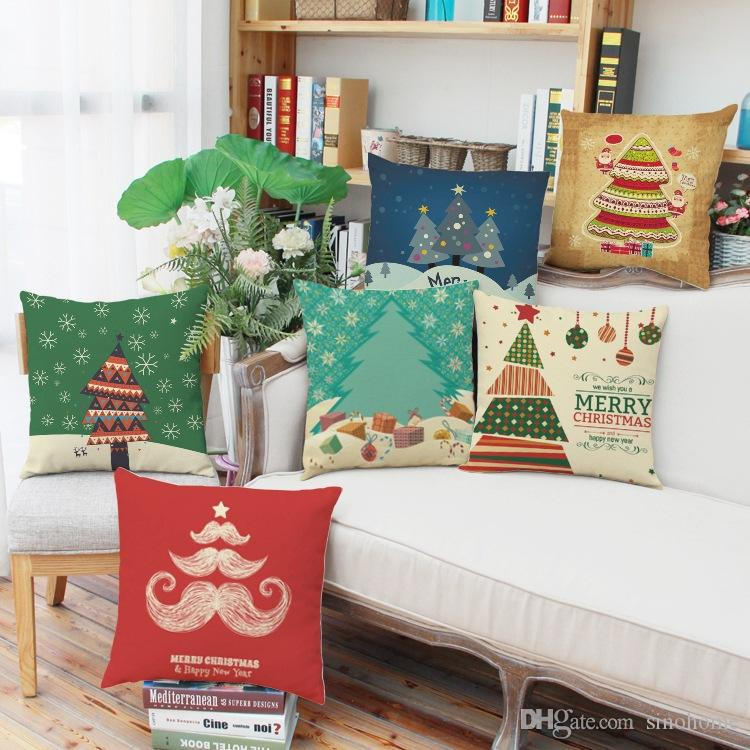 Linen Christmas Cushion Cover Decorative Pillow Cover 45x45cm 6 Different Printed Designs 4pcs Per Lot Drop Shipping