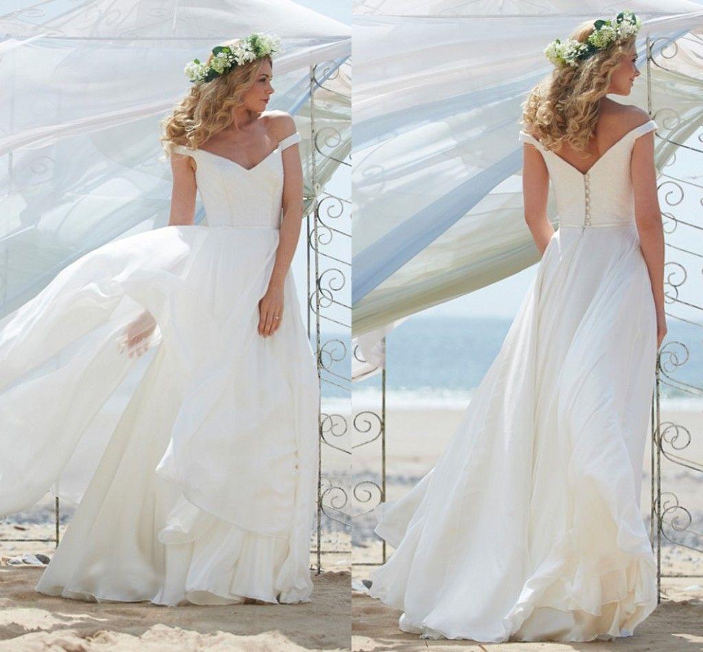 Beach Boho Wedding Dresses f the Shoulder Puffy Flowing