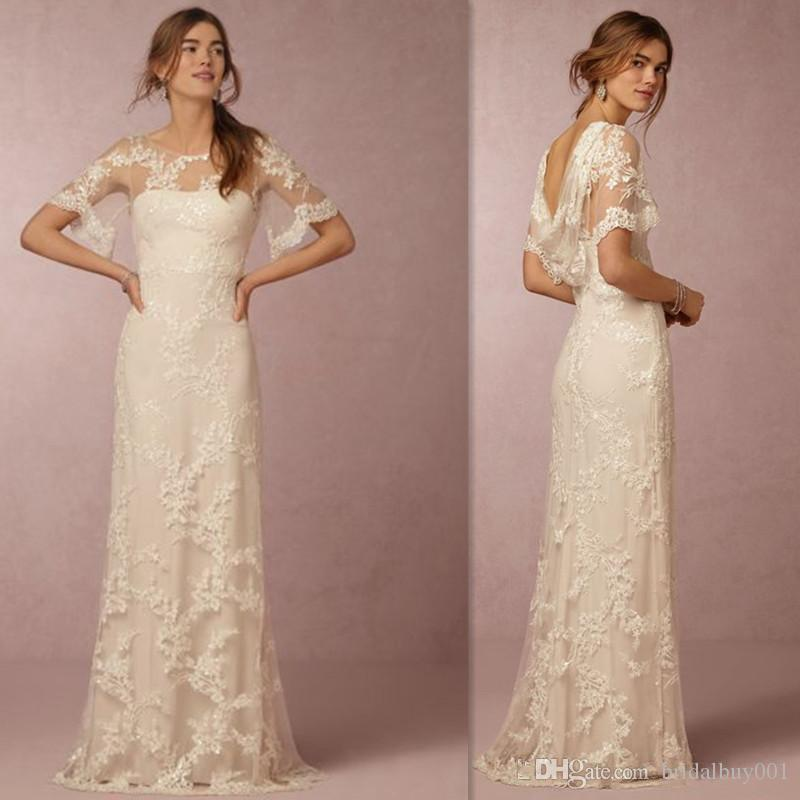 Bhldn wedding dresses 2016 lace appliques sheer crew neck for Dhgate wedding dresses 2016