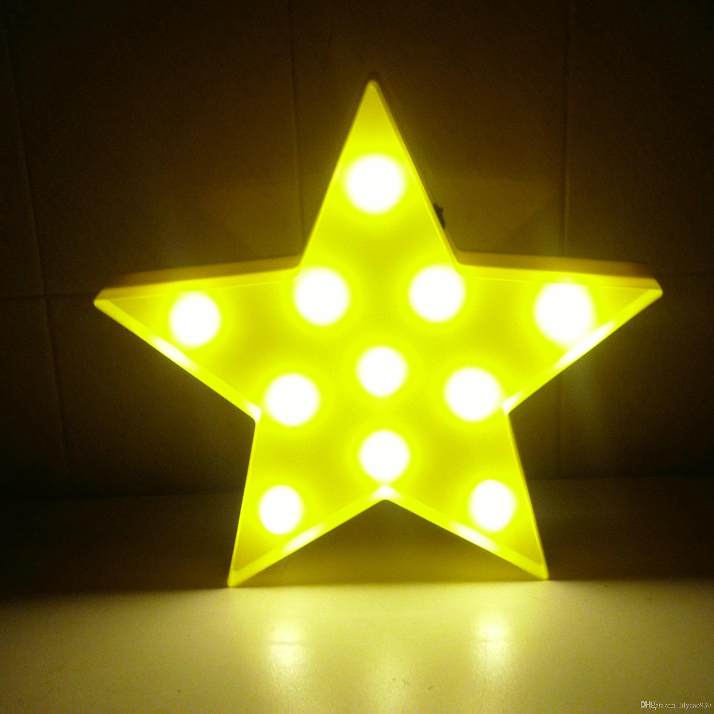 125 plastic star led night light aa battery led marquee sign light up letter signs