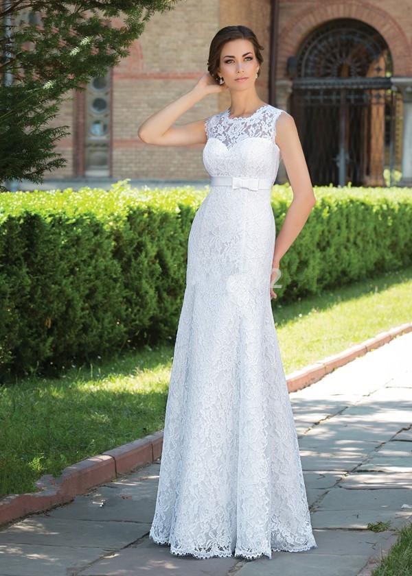 2016 simple elegant cap sleeve lace keyhole back sheath no for Wedding dresses no train