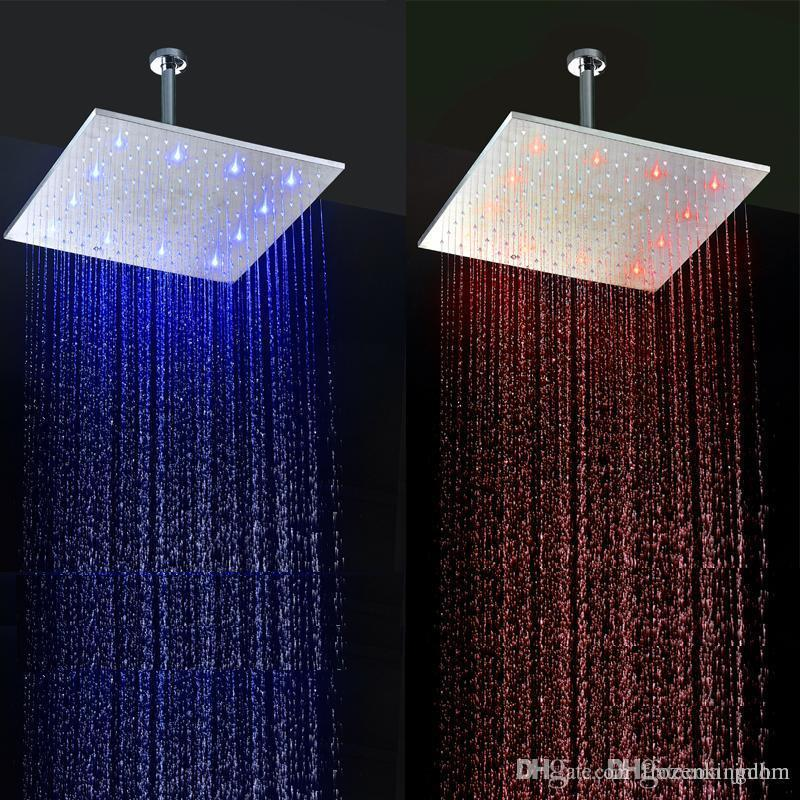 16 Inch Rainfall LED Shower Heads 304 Stainless Steel Overheads Rain Shower  Heads Bathroom Accessories Theromostatic Control LED 160305# High Quality  ...