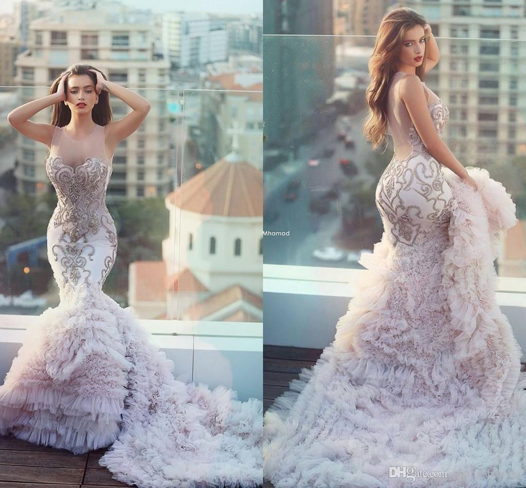 2016 Plus Size Mermaid Wedding Dress Blush Pink Luxurious