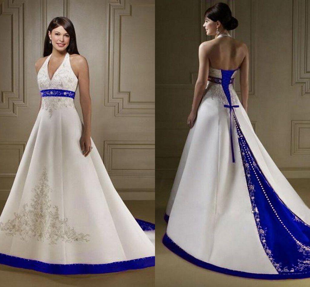 Stunning sexy a line wedding dresses v neck halter white for Wedding dress with blue trim