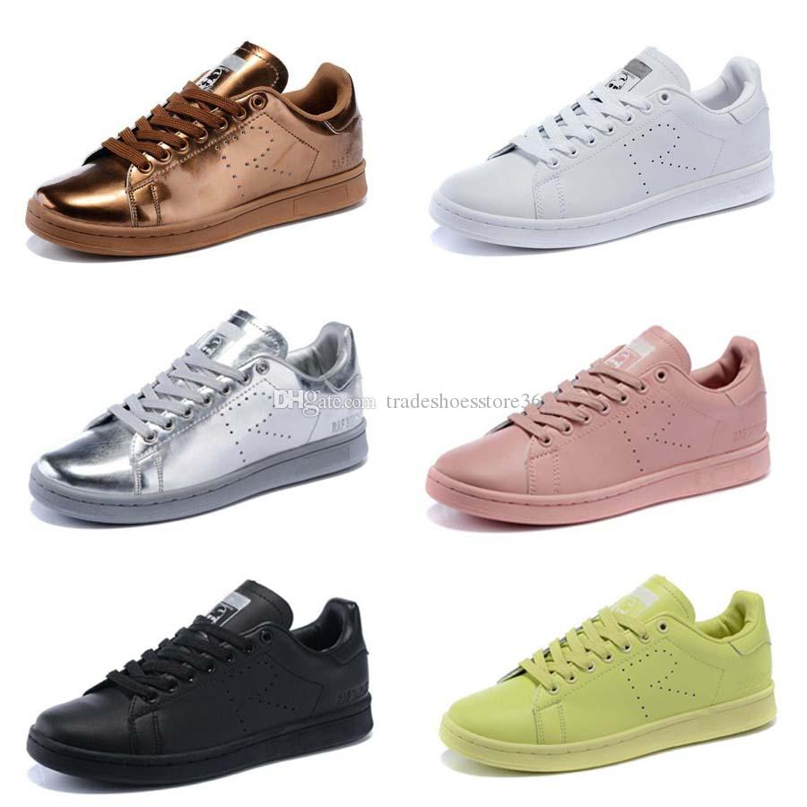 Skate shoes online shop - 2016 New Design Raf Simons Stan Smith Shoes Fashion Casual Leather Skate Shoes Brand Men Women Classic Glod Silver Flats Sneakers 36 44