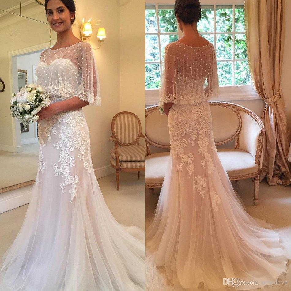 2016 wedding dresses with cape appliqued lace strapless for Wedding dress with cape train