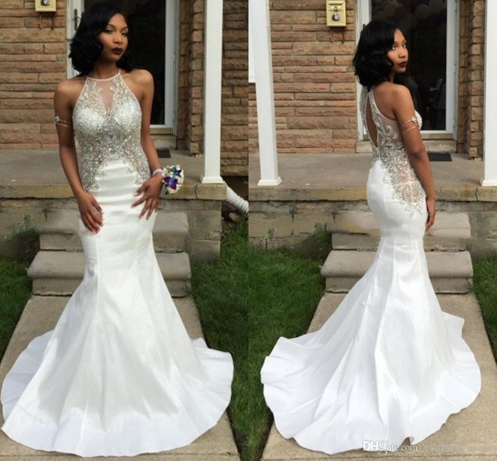 2017 Sexy White Mermaid Prom Dresses Halter Beaded Bodice ...