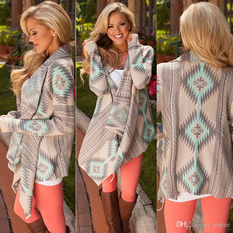 2017 Femmes Chevron Pulls Fashion Autumn Chothing Winter Cardigan Shrug Loose Se