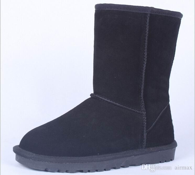 Classic Winter Women Snow Boots Suede Leather Mid Calf Fashion ...