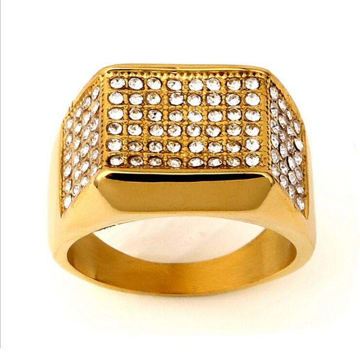 2016 Hip Hop Rings Ring Size 9 10 11 12 Men Women Gold Diamond Hip Hop Bling Bling Pave Cz Bague