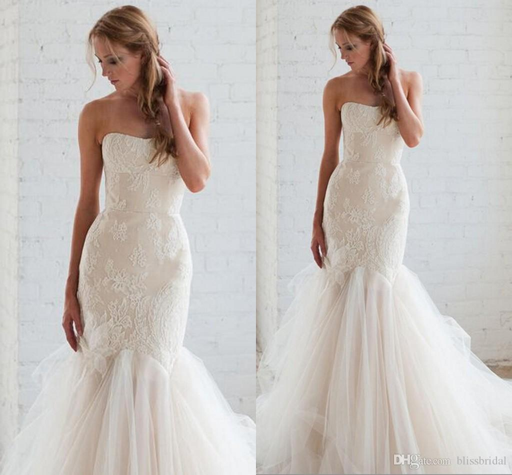 Strapless Mermaid Lace Tulle Simple Wedding Dresses 2016