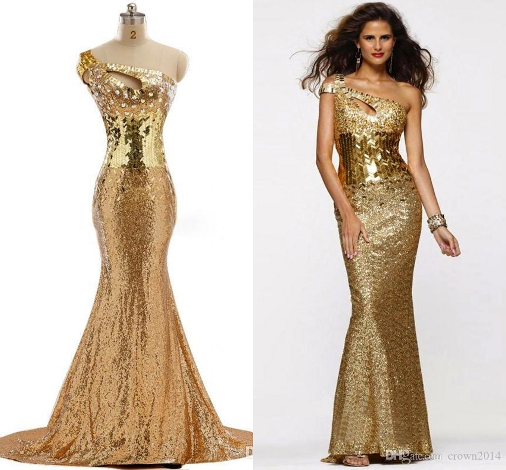 One Shoulder Mermaid Prom Dress 2017 Gold Sequin Lace Sexy ...