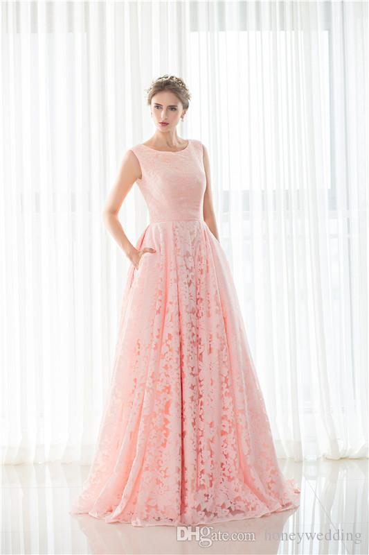 Modest Light Pink Wedding Gowns Jewel Neck Sleeveless Draped Lace ...