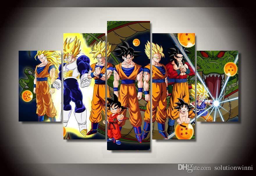 5 Panel Wall Art 5 panel hd printed cartoon characters painting wall art canvas