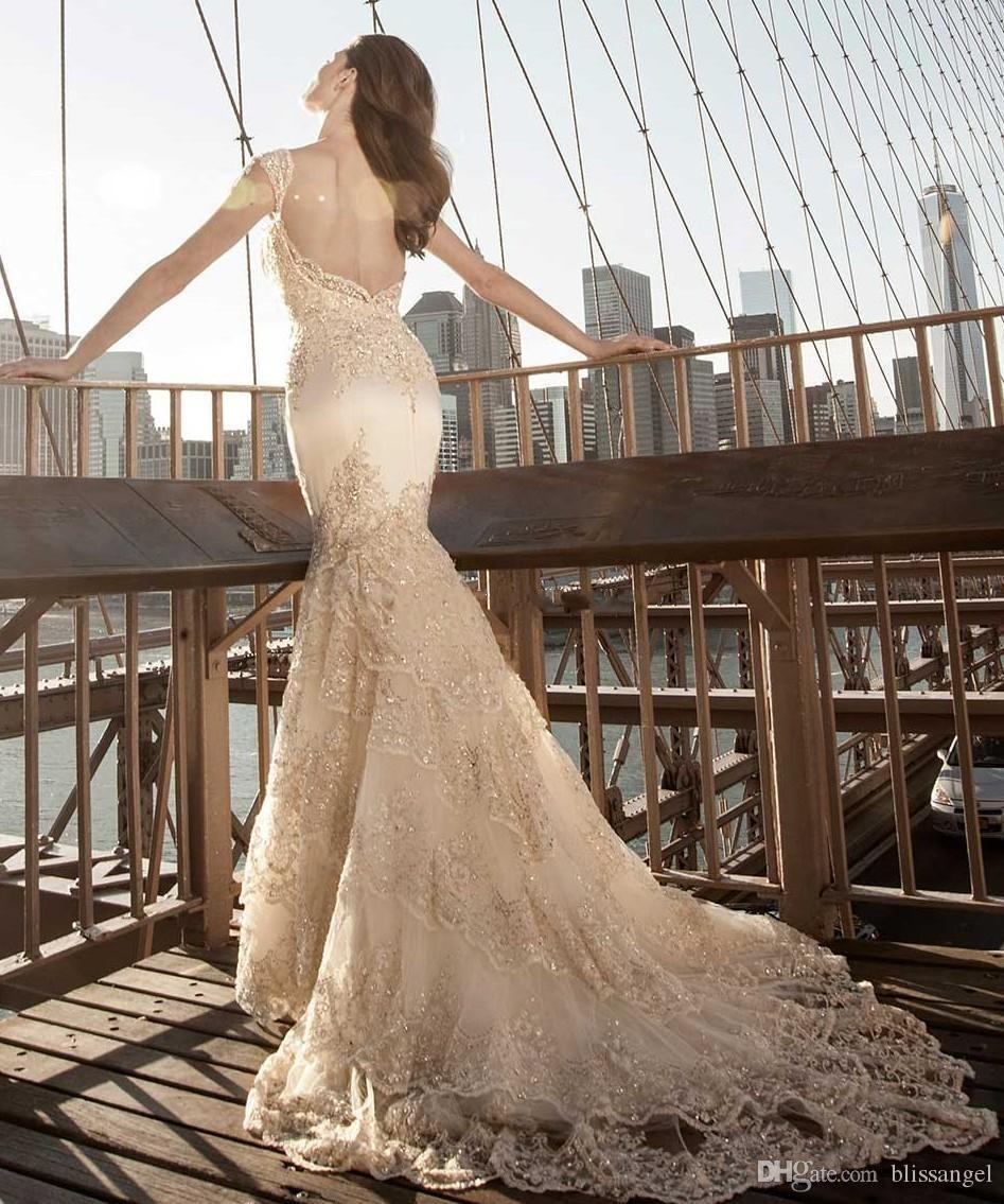 2015 gorgeous chagne sweetheart lace mermaid wedding
