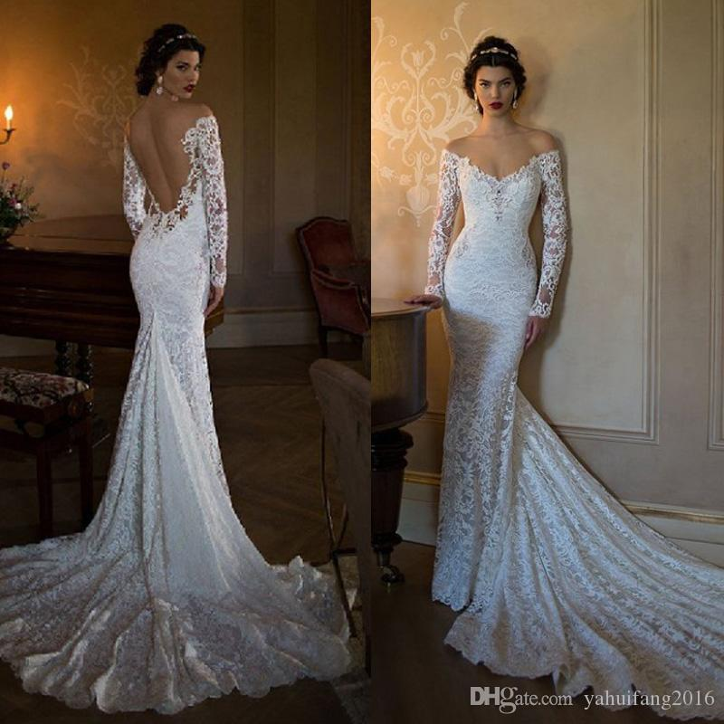 Sexy berta 2016 mermaid wedding dresses off shoulder long for Sexy fitted wedding dress