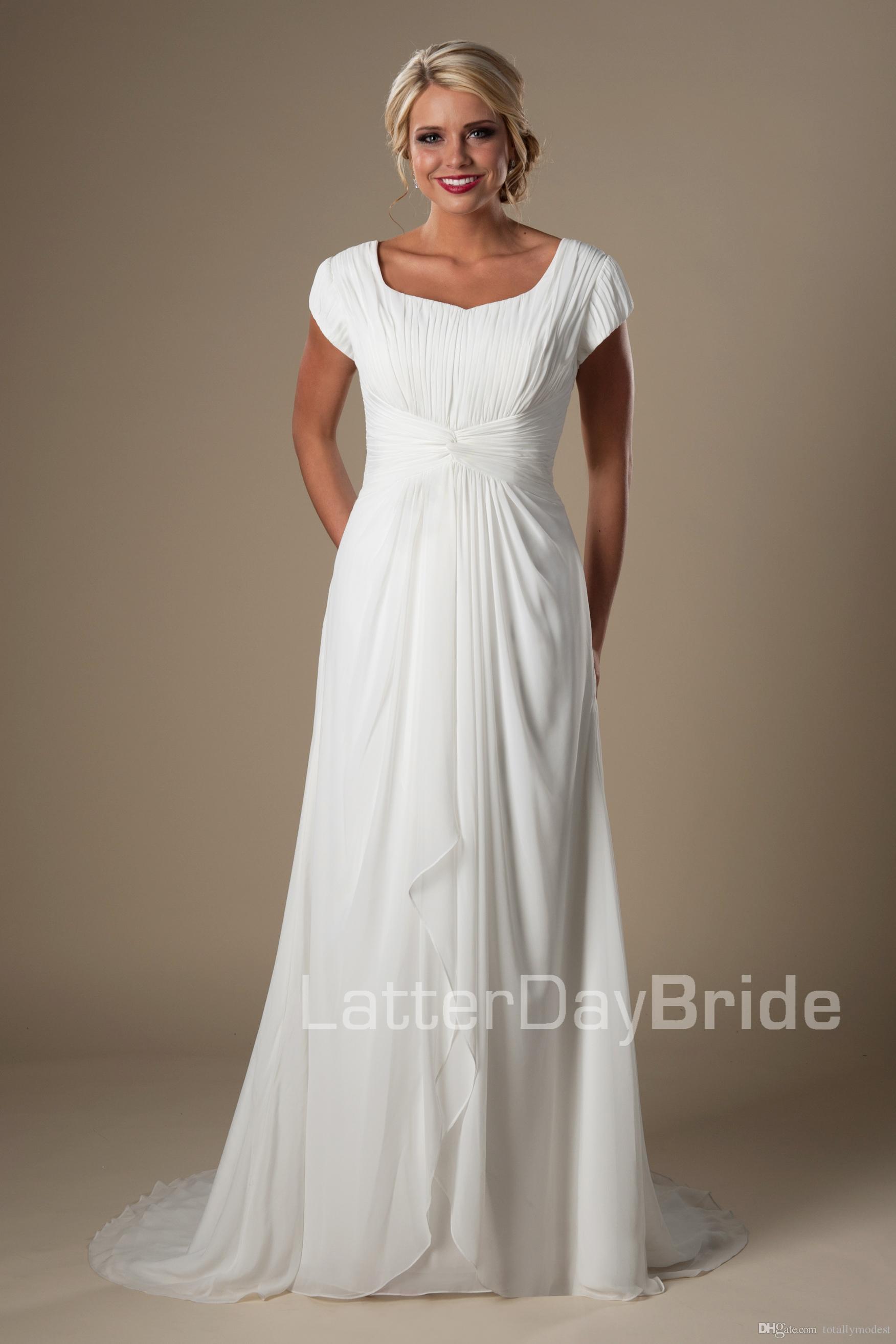 Ivory Ruched Chiffon Modest Beach Wedding Dresses 2016