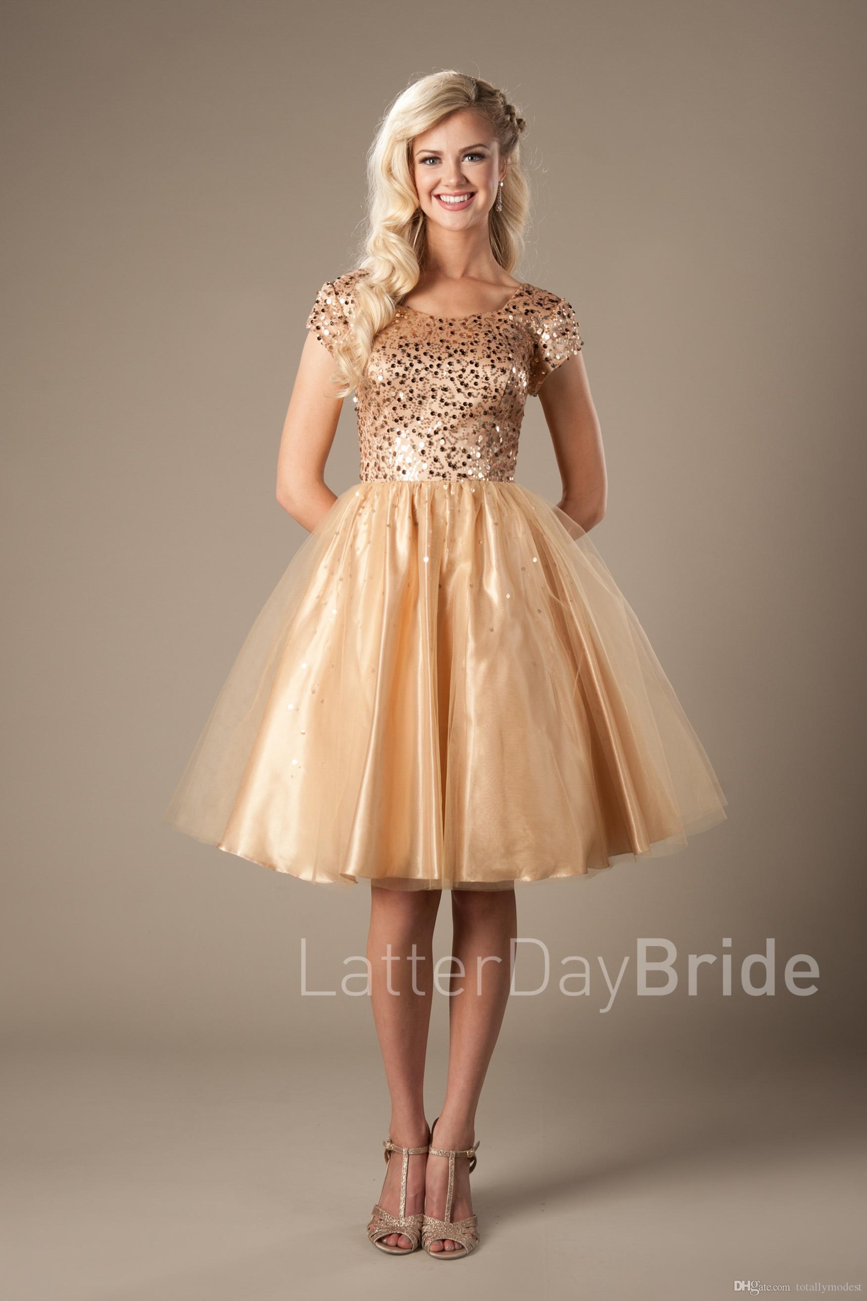 Gold Sequins Tulle Short Modest Cocktail Dresses 2017 Cap