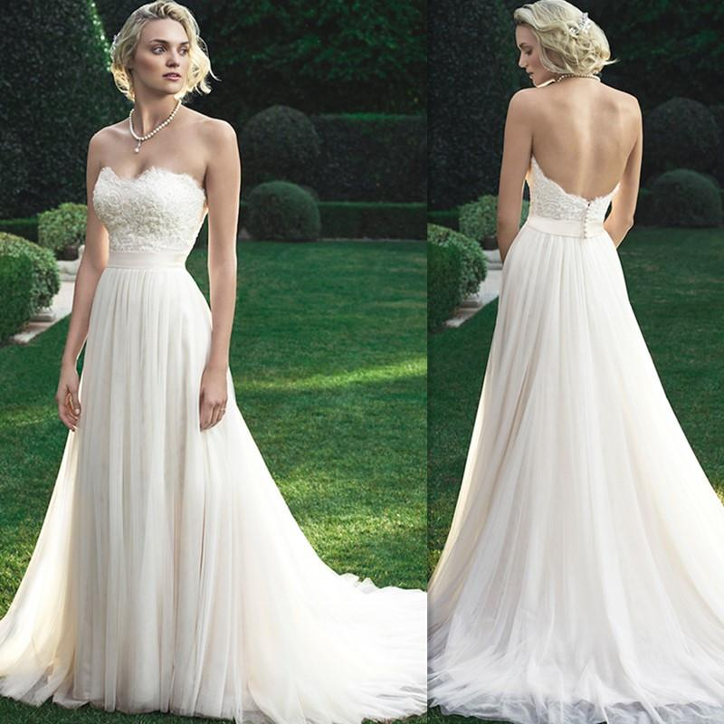 Simple wedding dresses 2016 sweetheart ivory tulle a line for Simple corset wedding dresses
