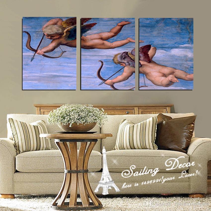 3 panels Oil on canvas wall art print Cupid angel  print painting living room bedroom