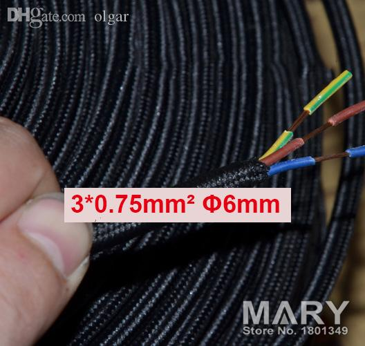 Wholesale-10meters Black 3core 0.75mm2 Textile Electrical Wire ...