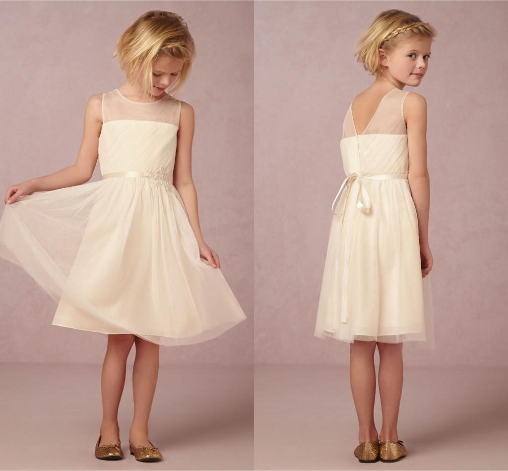 2016 Beach Flower Girl Dresses Cheap Knee Length Sash munion Dresses For G