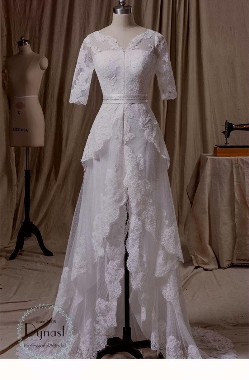 2015 lace tulle v neck neckline beading belt custom hi lo for Wedding dress rental hawaii