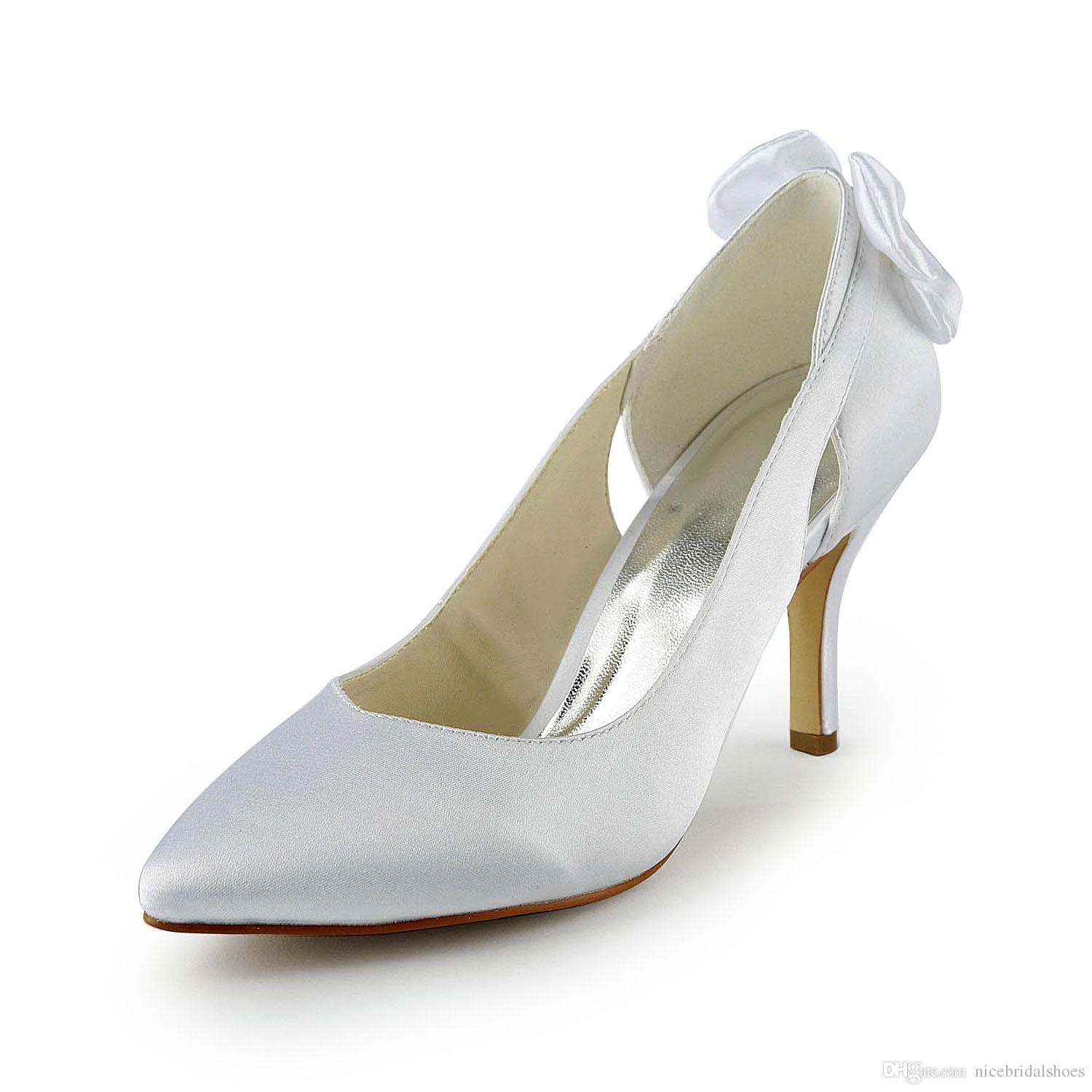 Nice Ivory Color Pump Toe Bow Elegant Style Bridal Shoes Wedding Dress Handmade For From Size35 Size 42 Fashional