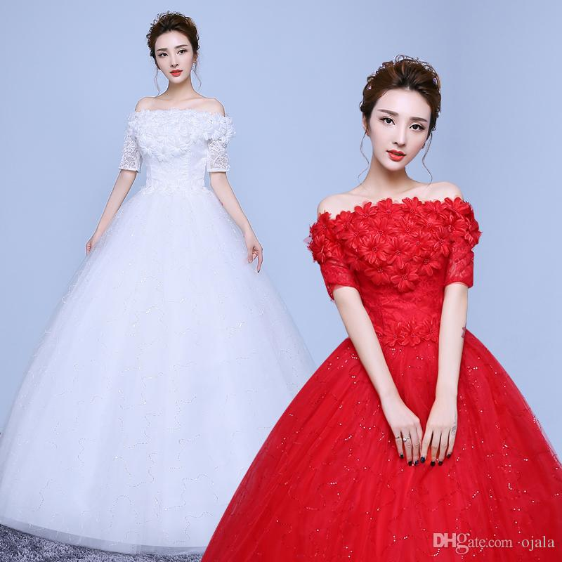 Md55 plus size real photos ball gown boat neck custom made for Big red wedding dresses