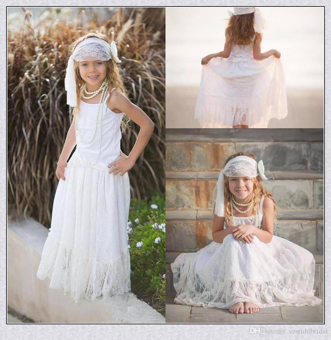 Cute beach wedding flower girls 39 dresses lace a line for Flower girl dress for beach wedding