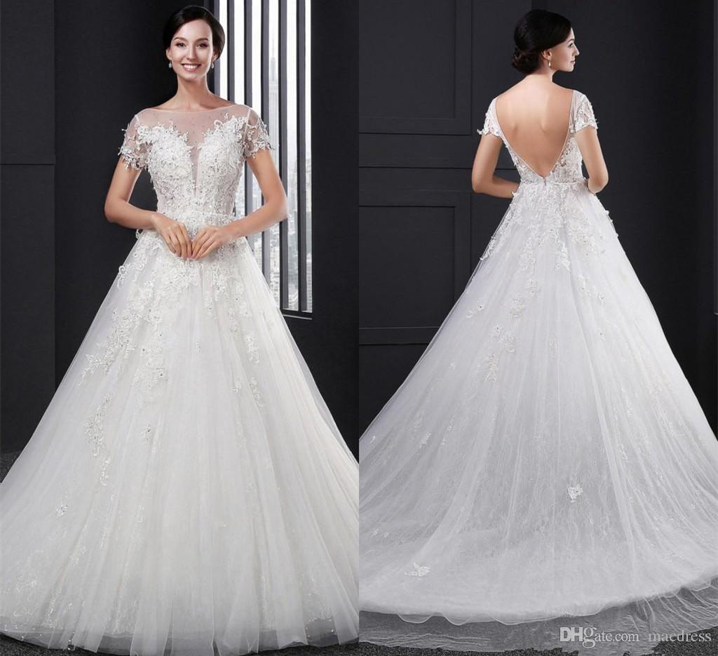Discount 2016 Plus Size Wedding Dresses Short Sleeves Lace