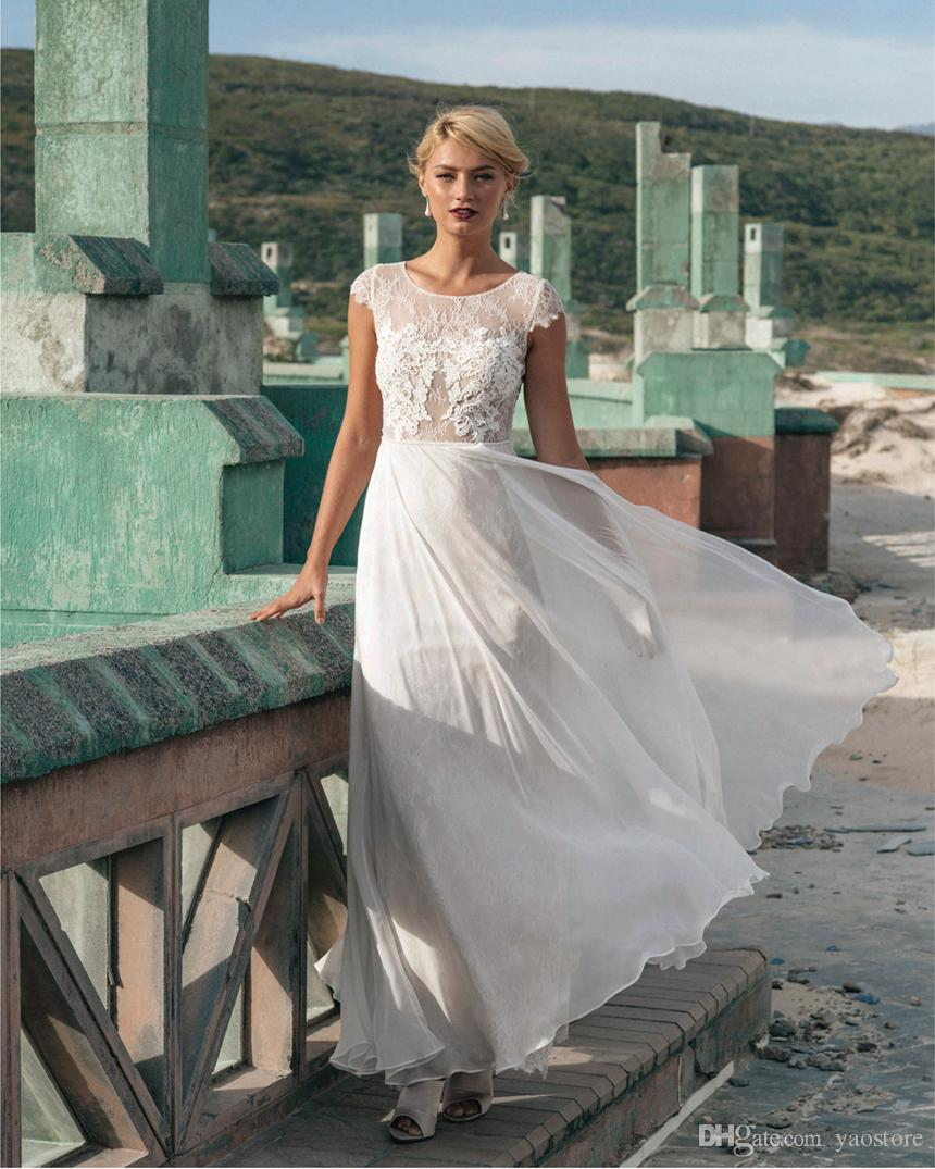 Discount Vintage Nude Look Soft Sheath Wedding Dress 2016 Guipure Lace Appliques Bridal Gowns