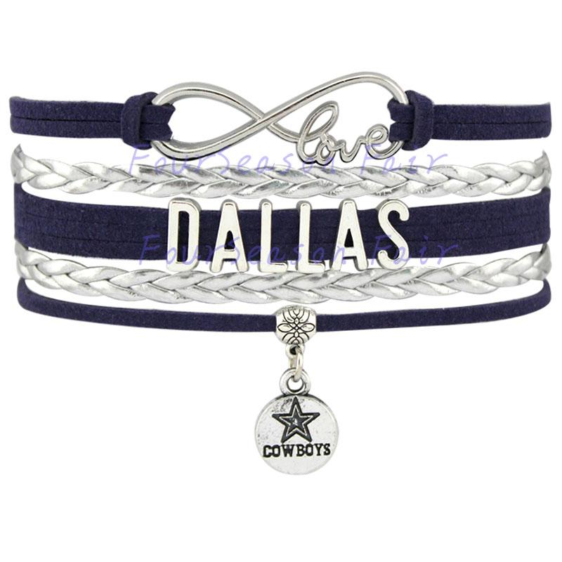Custom-Infinity Amour Dallas State Cowboys Football Bracelet Wax Cords Bracelet