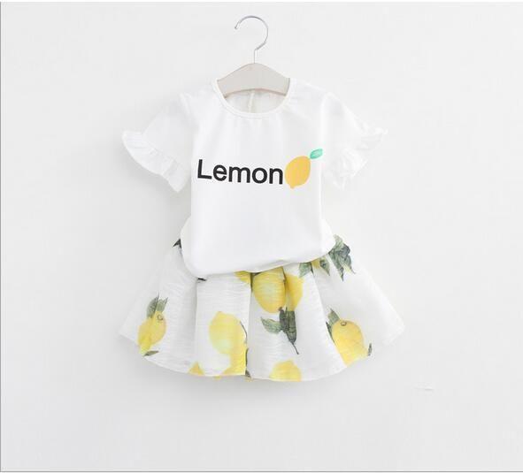 2017 New 2016 Children S Lemon Dress Sets Baby Girl Letter