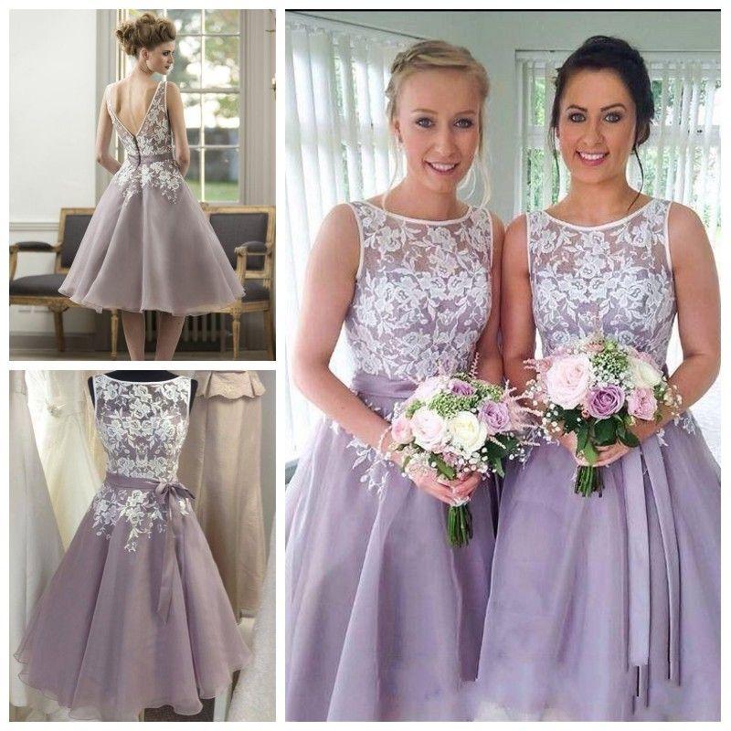 White And Lilac Bridesmaid Dresses 2016 Cheap Tea Length