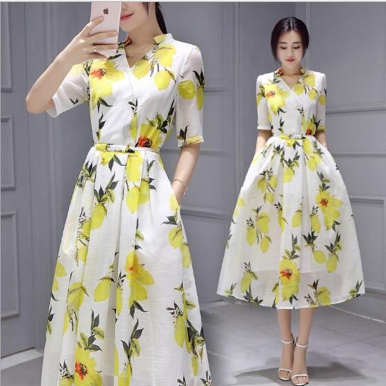 Korean Style 2016 Women Short Sleeve Fashion V Neck Fresh Lemon Printed Dress Women Best Sale