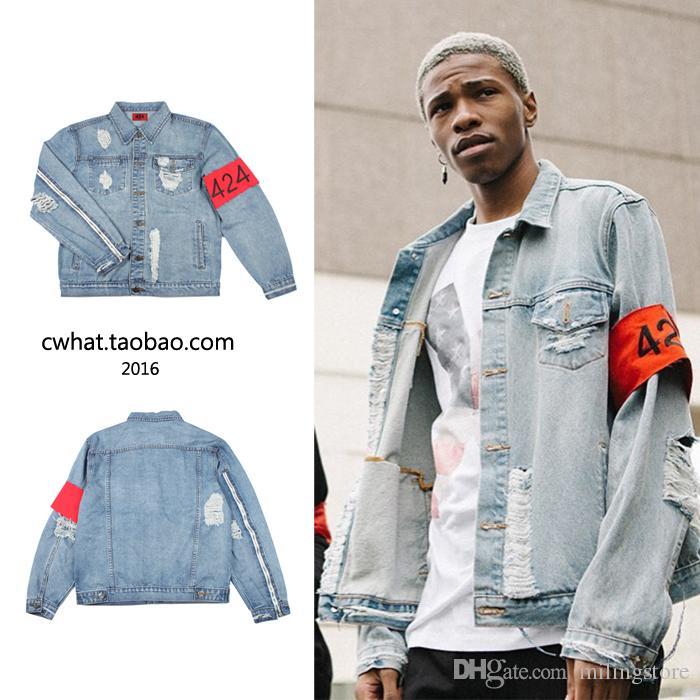 Brand Clothing Blue Jean Jackets Hiphop Kanye West Spring ...